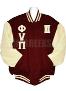 Kappa Alpha Psi Greek Letter Varsity Letterman Jacket with Founding Year Scroll and Crest Back, Crimson/Cream