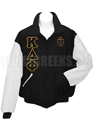Kappa Delta Phi Varsity Letterman Jacket with Greek Letters and Crest, Black/White
