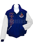Kappa Delta Rho Greek Letter Varsity Letterman Jacket with Crest, Navy Blue