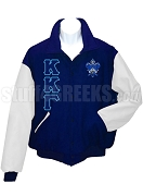 Kappa Kappa Gamma Greek Letter Varsity Letterman Jacket with Crest, Navy Blue