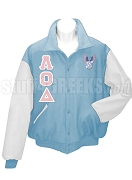 Lambda Omicron Delta Varsity Letterman Jacket with Greek Letters and Crest, Light Blue/White
