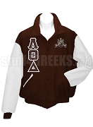 Lambda Theta Delta Varsity Letterman Jacket with Greek Letters and Crest, Brown/White