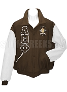 Lambda Theta Phi Greek Letter Varsity Letterman Jacket with Embellished Crest, Brown/White