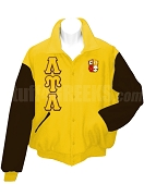 Lambda Upsilon Lambda Varsity Letterman Jacket with Greek Letters and Crest, Gold/Brown