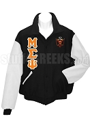 Malik Fraternity Varsity Letterman Jacket with Greek Letters and Crest, Black/White
