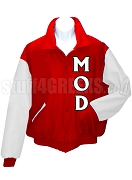 Men of D.I.S.T.I.N.C. Varsity Letterman Jacket with Letters, Red/White