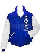 Mu Omicron Delta Varsity Letterman Jacket with Greek Letters, Royal Blue/White