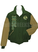 Mu Omicron Gamma Varsity Letterman Jacket with Greek Letters and Crest, Hunter Green/Tan