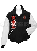 Mu Phi Sigma Varsity Letterman Jacket with Greek Letters and Crest, Black/White