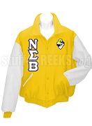Nu Sigma Beta Varsity Letterman Jacket with Greek Letters and Crest, Yellow/White