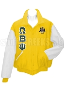 Omega Beta Psi Varsity Letterman Jacket with Greek Letters and Crest, Gold/White