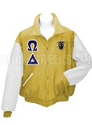 Omega Delta Varsity Letterman Jacket with Greek Letters and Crest, Old Gold/White