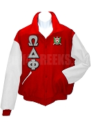 Omega Delta Phi Varsity Letterman Jacket with Greek Letters and Crest, Red/White