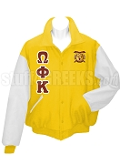 Omega Phi Kappa Varsity Letterman Jacket with Greek Letters and Crest, Gold/White