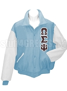 Omega Sigma Psi arsity Letterman Jacket with Greek Letters, Powder Blue/White