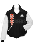 Omega Sigma Tau Varsity Letterman Jacket with Greek Letters and Crest, Black/White