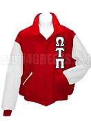 Omega Tau Pi Varsity Letterman Jacket with Greek Letters, Red/White