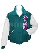 Phi Alpha Omicron arsity Letterman Jacket with Greek Letters, TealWhite
