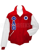 Phi Alpha Theta Varsity Letterman Jacket with Greek Letters and Crest, Red/White