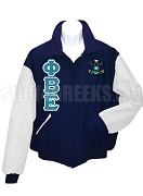 Phi Beta Epsilon Varsity Letterman Jacket with Greek Letters and Crest, Navy Blue/White