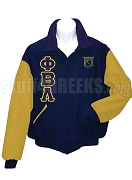 Phi Beta Lambda Varsity Letterman Jacket with Greek Letters and Crest, Navy Blue/White