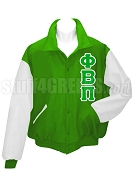 Phi Beta Pi Varsity Letterman Jacket with Greek Letters, Kelly Green/White