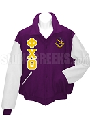 Phi Chi Theta Varsity Letterman Jacket with Greek Letters and Crest, Purple/White