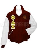 Phi Delta Chi Varsity Letterman Jacket with Greek Letters and Crest, Maroon/White