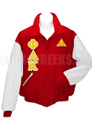 Phi Delta Kappa Varsity Letterman Jacket with Greek Letters and Crest, Red/White