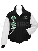 Phi Delta Sigma Varsity Letterman Jacket with Greek Letters and Crest, Black/White