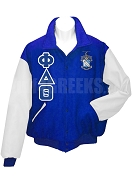 Phi Delta Theta Varsity Letterman Jacket with Greek Letters and Crest, Royal Blue/White