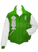 Phi Eta Chi Varsity Letterman Jacket with Greek Letters and Crest, Kelly Green/White