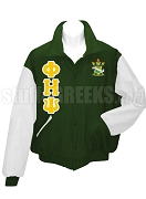 Phi Eta Psi Varsity Letterman Jacket with Greek Letters and Crest, Forest Green/White