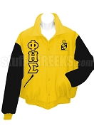 Phi Eta Sigma Varsity Letterman Jacket with Greek Letters and Crest, Gold/Black