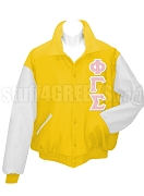 Phi Gamma Sigma Varsity Letterman Jacket with Greek Letters, Gold/White