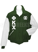 Phi Kappa Chi Varsity Letterman Jacket with Greek Letters, Forst Green/White