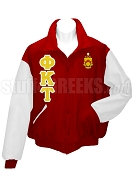 Phi Kappa Tau Varsity Letterman Jacket with Greek Letters and Crest, Cardinal Red/White
