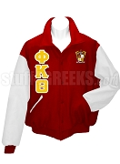Phi Kappa Theta Varsity Letterman Jacket with Greek Letters and Crest, Cardinal Red/White