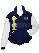 Phi Lambda Chi Varsity Letterman Jacket with Greek Letters and Crest, Navy Blue/White