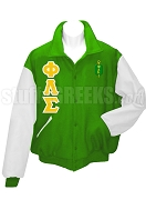 Phi Lambda Sigma Varsity Letterman Jacket with Greek Letters and Crest, Kelly Green/White