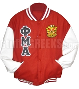 Phi Mu Alpha Varsity Letterman Jacket with Greek Letters and Crest, Red/White