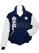 Phi Sigma Gamma Varsity Letterman Jacket with Greek Letters and Crest, Navy Blue/White