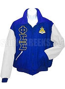 Phi Sigma Sigma Varsity Letterman Jacket with Greek Letters and Crest, Royal Blue/White