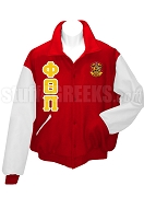 Phi Theta Pi Varsity Letterman Jacket with Greek Letters and Crest, RedWhite