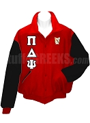 Pi Delta Psi Varsity Letterman Jacket with Greek Letters and Crest, Red/Black