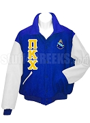 Pi Kappa Chi Varsity Letterman Jacket with Greek Letters and Crest, Royal BlueWhite