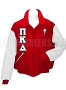 Pi Kappa Delta Varsity Letterman Jacket with Greek Letters and Crest, Red/White
