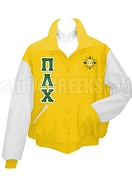 Pi Lambda Chi Varsity Letterman Jacket with Greek Letters and Crest, Gold/White