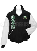 Psi Chi Omega Varsity Letterman Jacket with Greek Letters and Crest, BlackWhite