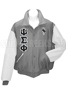 Psi Sigma Phi Varsity Letterman Jacket with Greek Letters and Crest, Gray/White